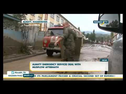 Almaty emergency services deal with mudflow aftermath
