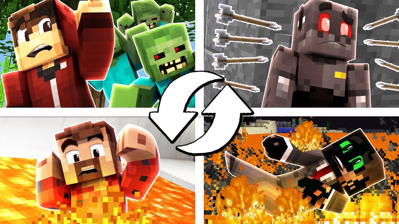 Minecraft: four Means Demise Swap Fail! (Humorous Moments)