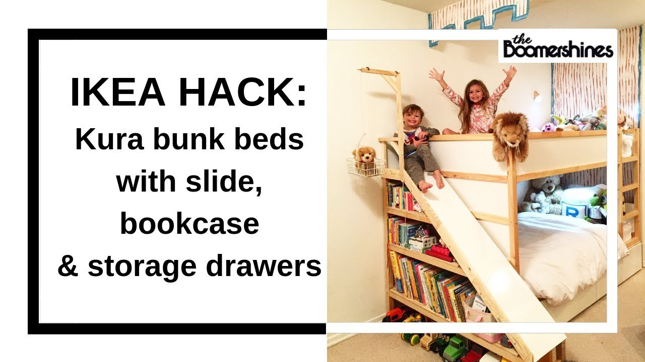 Ikea Hack Kura Bunk Bed With Slide Bookcase And Storage Youtube