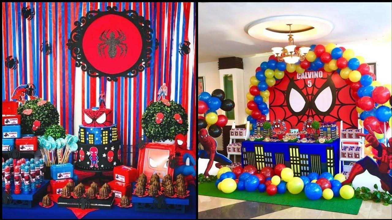 Diy Spiderman Birthday Theme Decorations Birthday Theme Decoration Ideas Spiderman Birthday Party Youtube