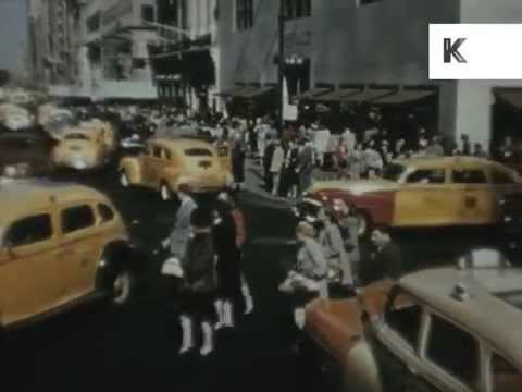 1940s New York Streets and Skyscrapers, Rare Colour 1948 Footage
