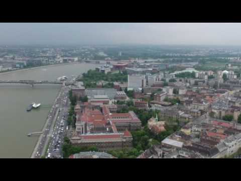 A short flight over Budapest on an overcast day.