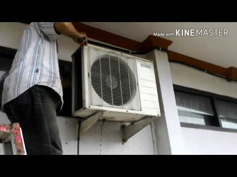 Cleaning washing outdoor mini split season air conditioner [] condenser coil clean