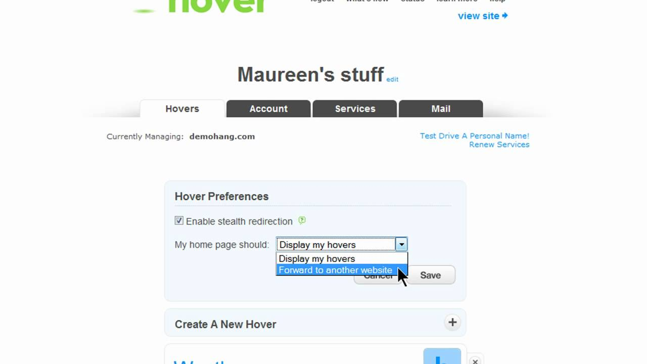 Setting up Domain Forwarding in Hover