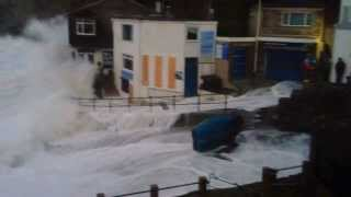 trevaunance cove st agnes cornwall storm the second coming