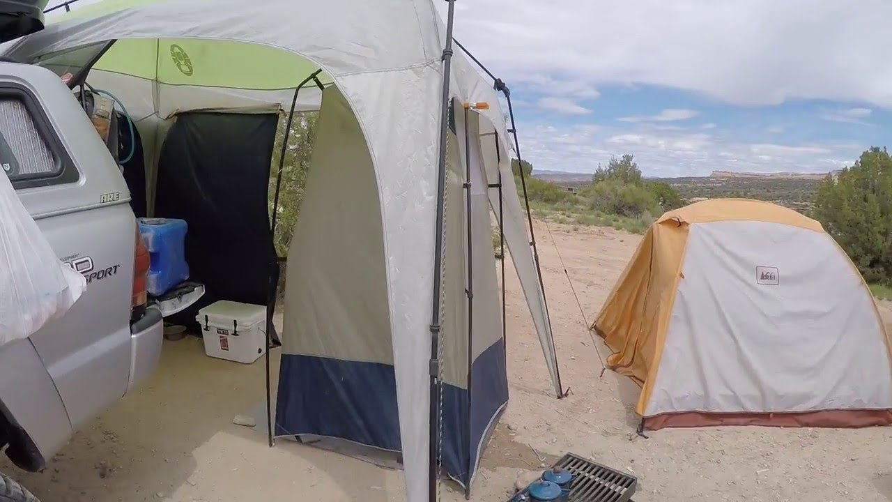 Vehicle Pop Up Tents : Truck camping pop up shelter with shower tent and tarp