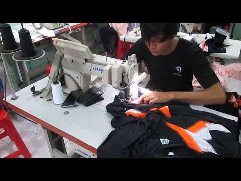 Công đoạn diễu dây dệt cổ áo thun cổ trụ tại PhuocLap.vn