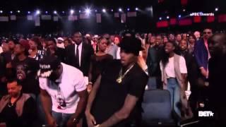 Chris Brown having fun at BET Awards 2015