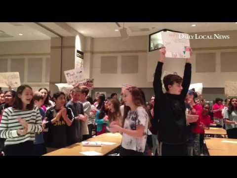 Lionville Middle School students welcome and introduce veterans during their 7th annual Veterans Day