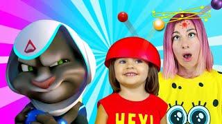 Мой Говорящий Том и Арина играют с разноцветными шарами bubble shooter