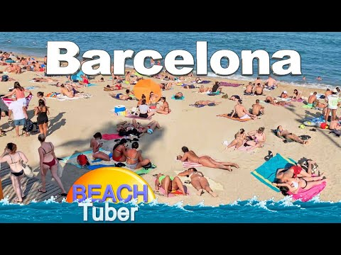 4K VIDEO BEACH WALK [ Barcelona ] SPAIN SLOW TV Travel vlog