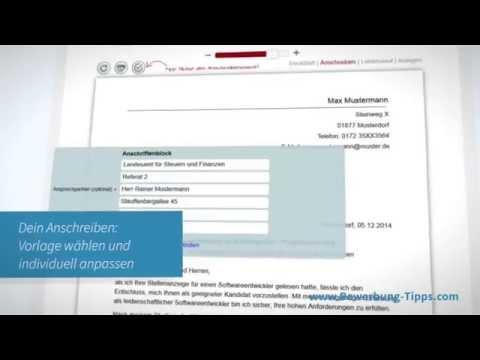 bewerbung vorlagen und muster zum anschreiben - Bewerbung Tippscom