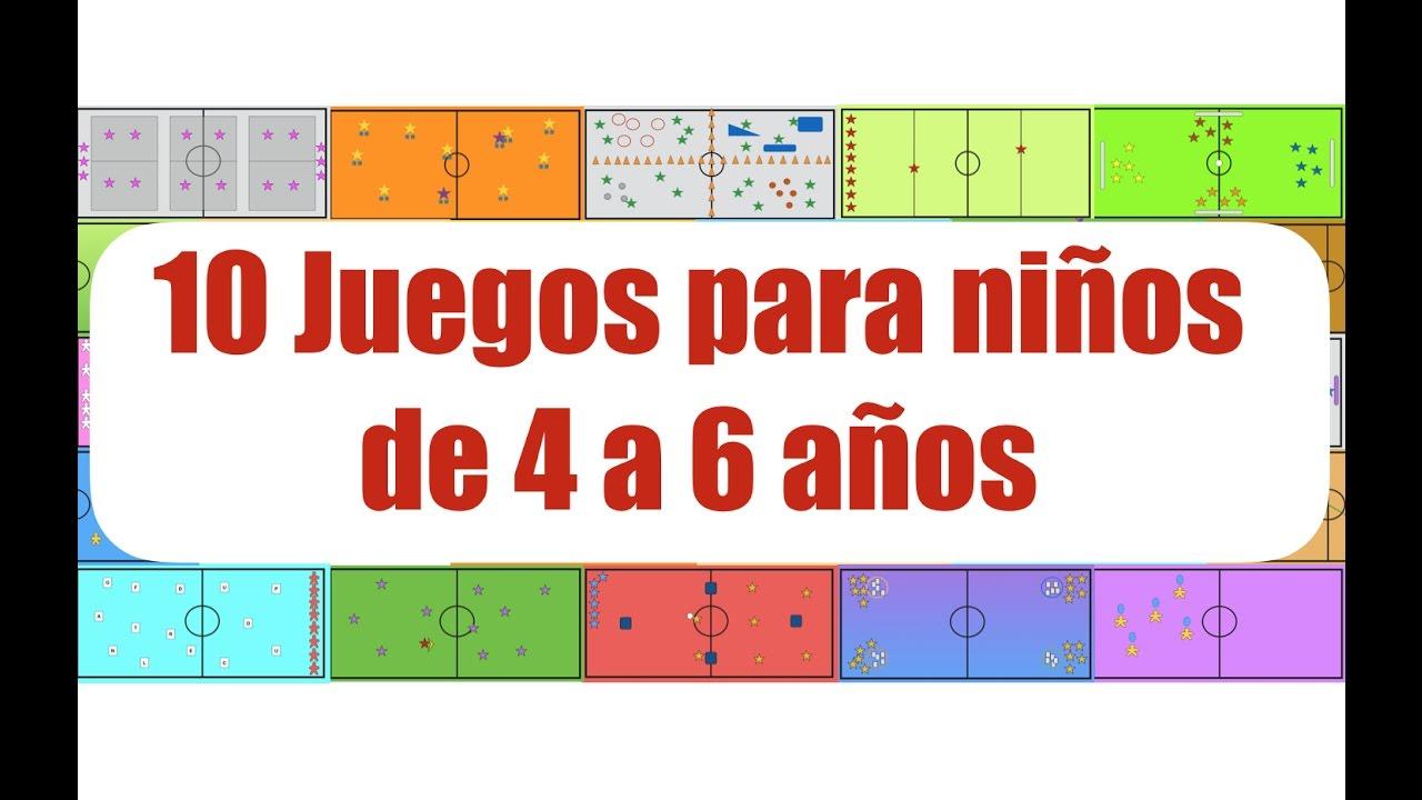 10 JUEGOS PARA NIÑOS DE 4 a 6 AÑOS | Juegos Educación Física - YouTube
