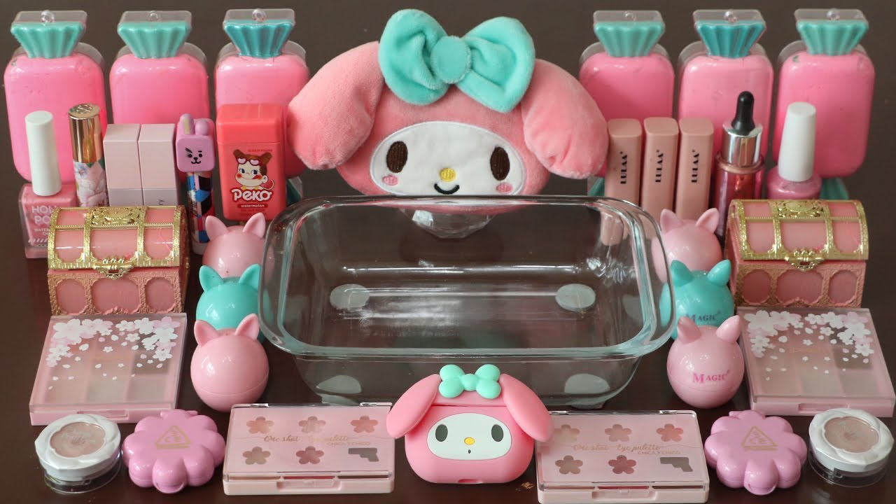 """Mixing""""My Melody"""" Eyeshadow and Makeup,parts,glitter Into Slime!Satisfying Slime Video!★ASMR★"""