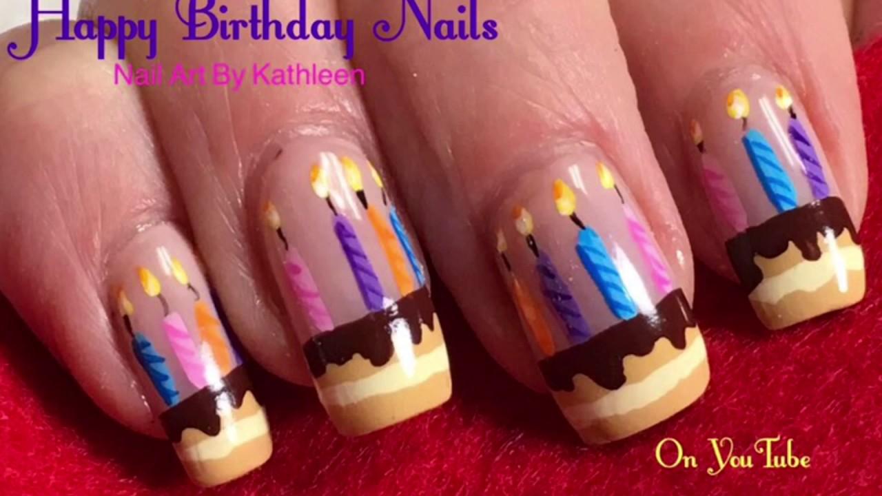 birthday nails - diy freehand nail