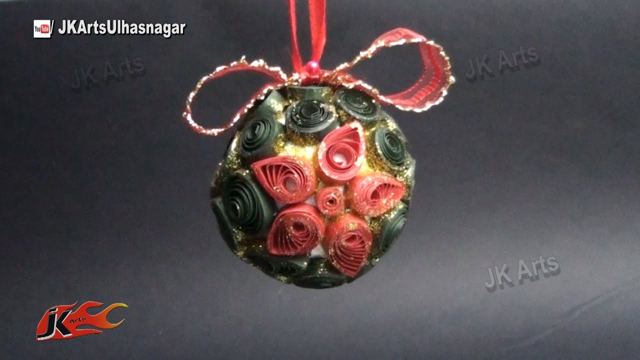 how to make paper quilling christmas ball diy christmas decorations jk arts 792 youtube