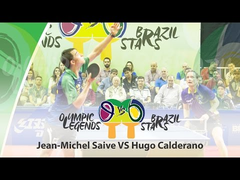 Olympic Legends vs Brazil Stars Hugo CALDERANO (BRA) vs Jean-Michel Saive (BEL)