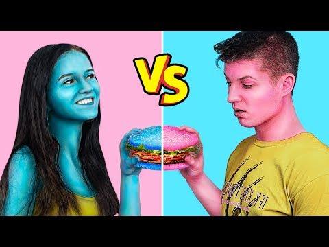 Kendi Rengindeki Yiyecekleri Yeme Yarışması / 24 Saat Mavi Ve Pembe Yiyecekler Yeme Yarışması