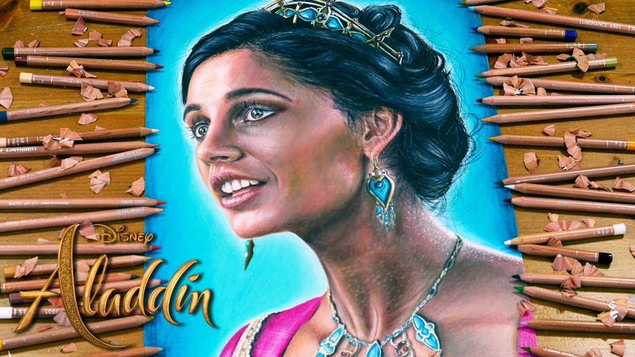 Drawing Princess Jasmine Naomi Scott A Whole New World From