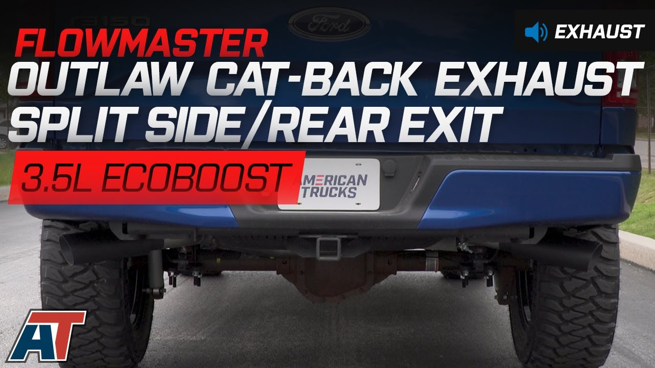 2015 2017 f150 flowmaster outlaw cat back exhaust w black tips 3 5l ecoboost sound clip install americantrucks ford