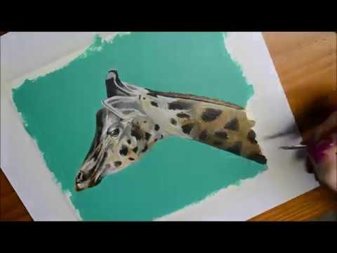 GIRAFFE ACRYLIC PAINTING -TIME LAPSE VIDEO