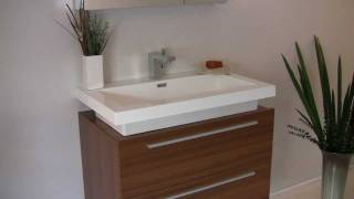 Fresca Medio Teak Modern Bathroom Vanity W/ Two Drawers & Acrylic Countertop - Fvn8080tk