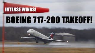 Delta Airlines Boeing 717-2BD Takeoff in INTENSE WINDS!