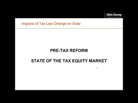 Impacts of the Tax Law Change on the Solar Industry