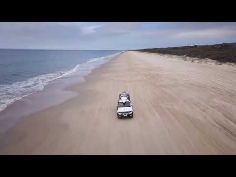 Bribie Ocean Beach in NX Pajero from DJI Mavic Pro