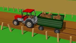 Truck and Excavator and Tank and Tractors - Fairy Tales   Auto, Koparka, Czołg, Traktory - Bajka