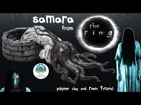 Samara from The Ring 3D figurine - Polymer Clay & Resin Tutorial - Blue in Wonderwood