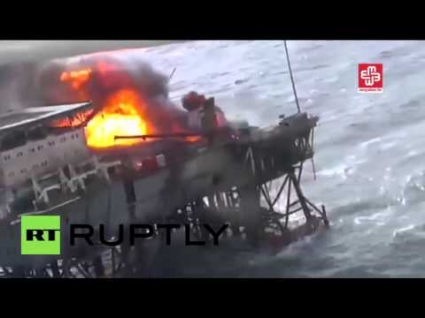 Azerbaijan: Huge blaze rips through oil platform in Caspian
