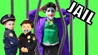 Little Heroes-  The Joker goes bananas in real life Joker goes to jail a Kid Cops funny video