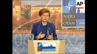 WRAP NATO Sec Gen and Latvian president ahead of summit, presser