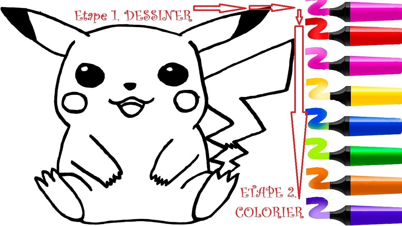 Dessin facile pokemon et coloriage pokemon pikachu dessiner et colorier pokemon coloriage - Dessin enfant facile ...