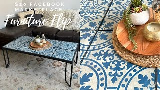 Facebook Marketplace $20 Tile Table Furniture Flip With Tile Stencils!