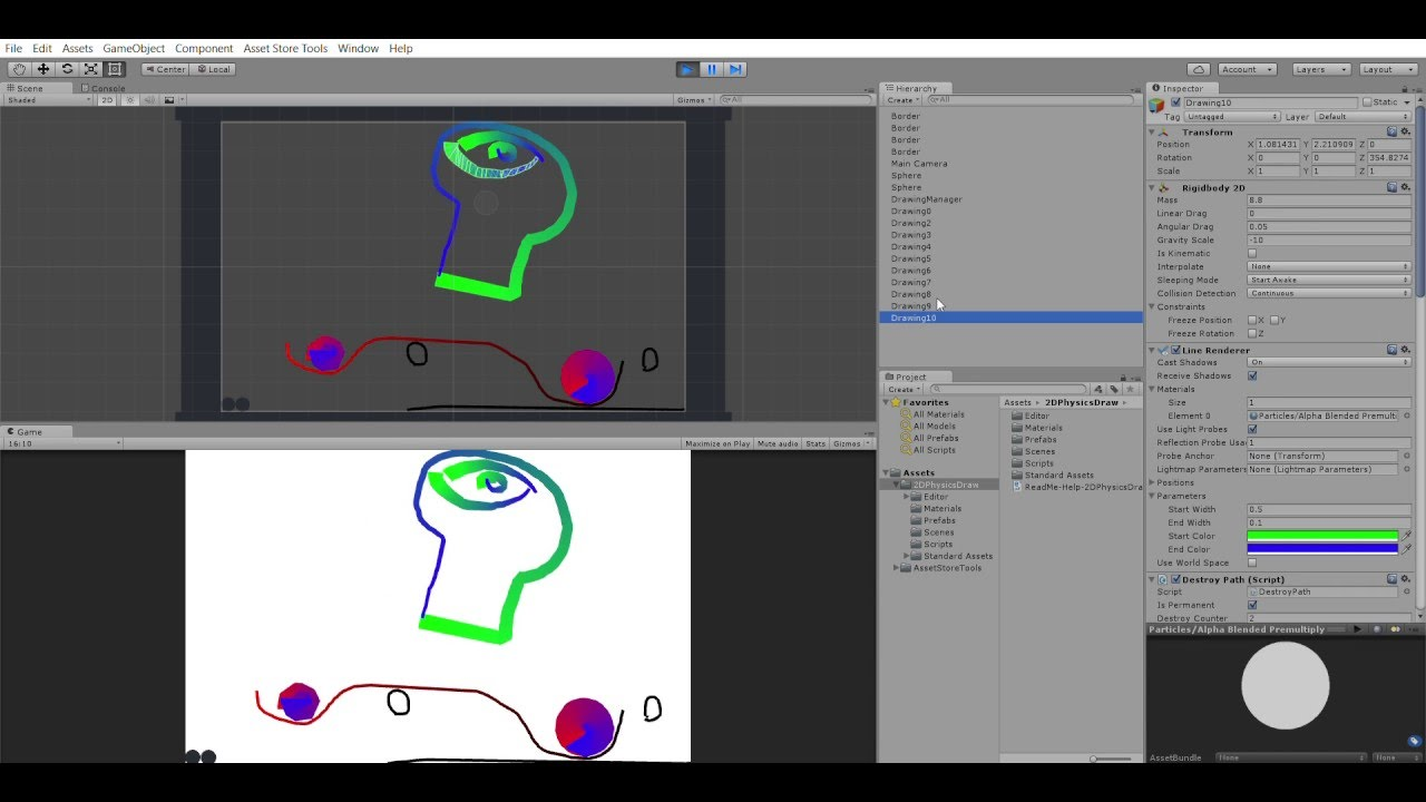2D Physics Draw With Collider Asset for Unity 3D - ExampleScene