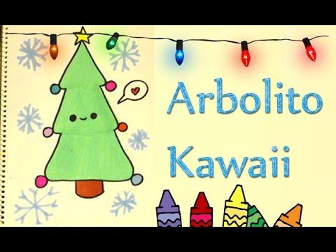 Dibuja Un Pino Kawaii Navideño Arbolito De Navidad Dibujar Fácil Y
