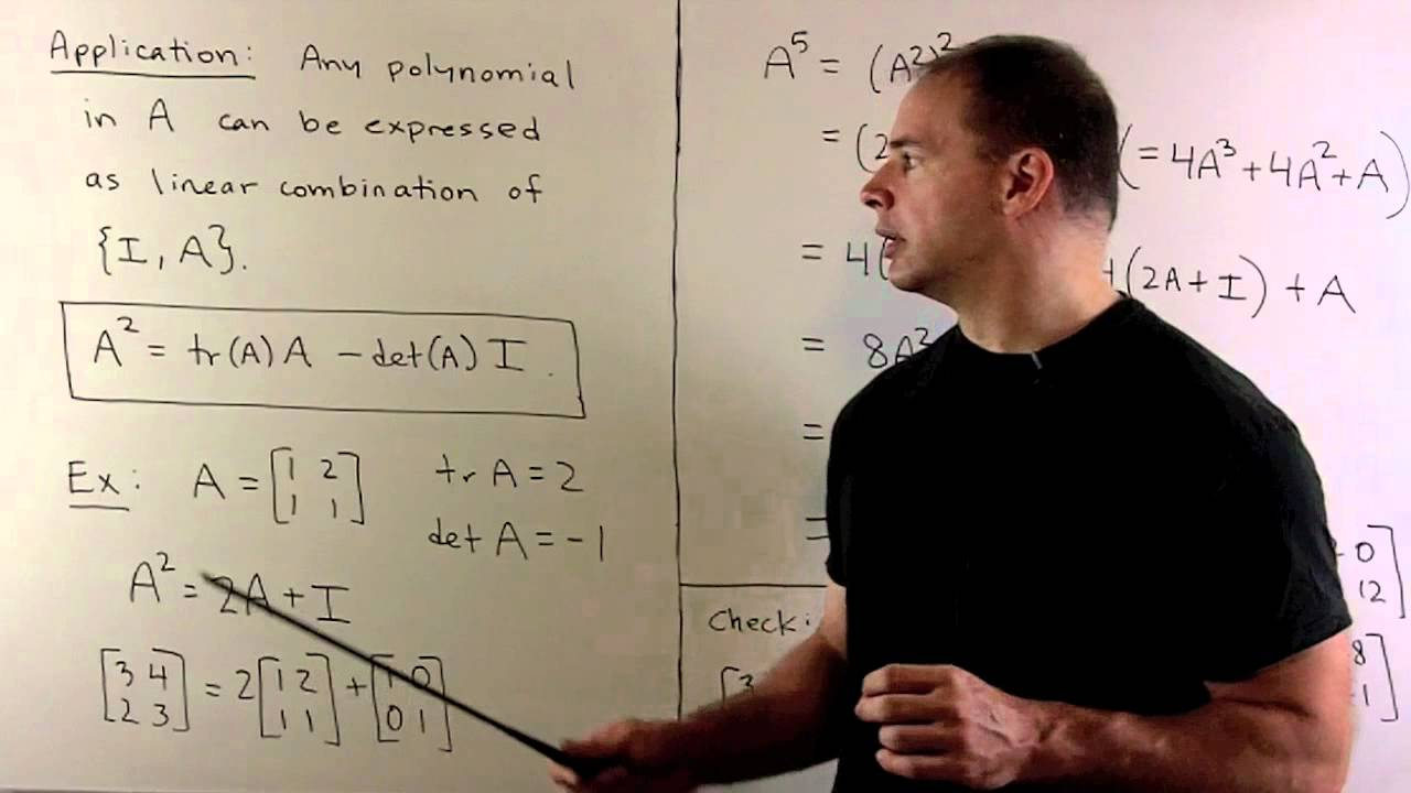 Cayley-hamilton theorem for 2x2 matrices youtube.