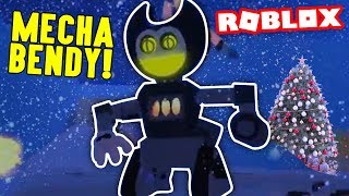 Fandroid vs MECHA BENDY! - Roblox Bendy - la machine à encre De Noel RP - Fandroid le robot musical