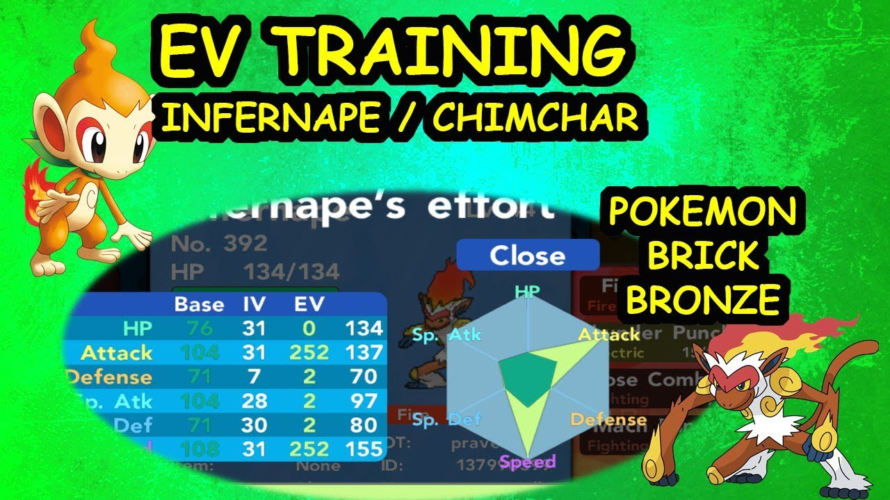 pokemon brick bronze ev training infernape chimchar youtube