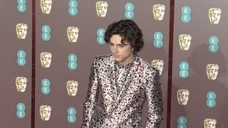 Timothee Chalamet at the 2019 EE British Academy Film Awards in London