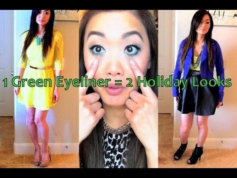 February Lookbook - Mardi Gras & Chinese New Years (Wearable: 1 Green Eyeliner = 2 Looks)