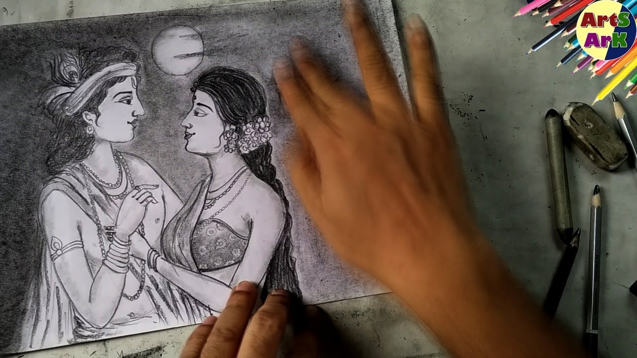 Radha Krishna Easy Step by step Drawing with Pencil ...