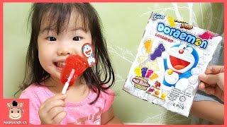 도라에몽 대형 발바닥 사탕 과자 어린이 먹방! 사탕 초콜렛 먹은 귀요미 유니 반응은? ♡ Giant sole candy mukbang | 말이야와아이들 MariAndKids