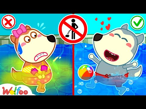No No, Wolfoo! Don't Pee in the Pool - Learn Good Manners at Water Park  Wolfoo Channel Kids Cartoon