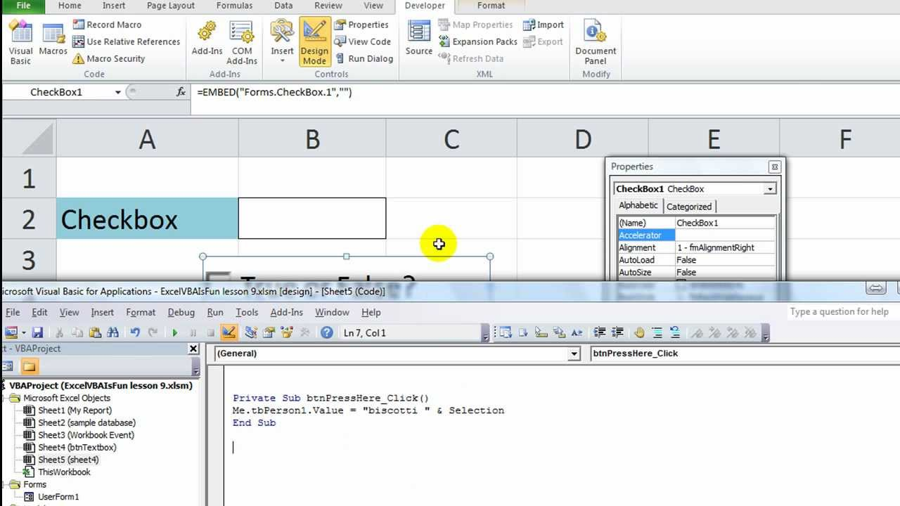 Excel Vba Activex Series 2 Checkbox Changing Cell Value