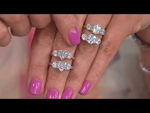 Diamonique 3.00 cttw Three Stone Ring, Sterling or Gold Clad on QVC