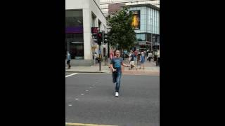 Drunken tosser skipping through Leeds!