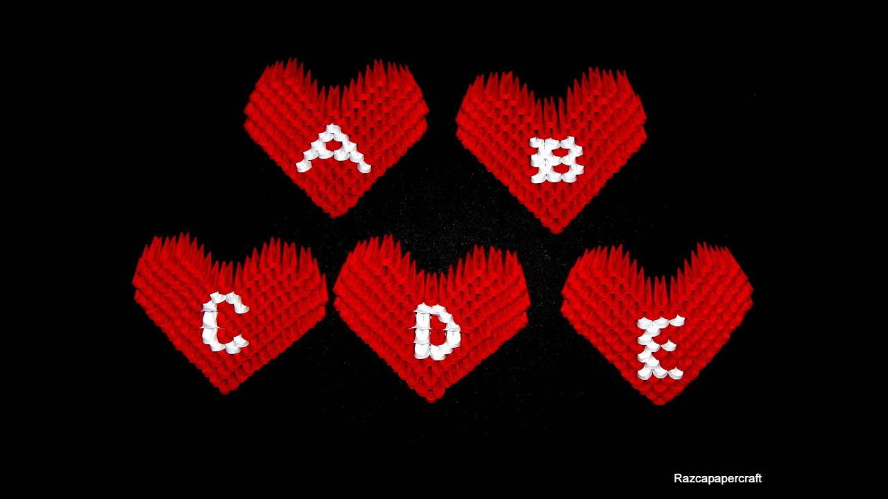 3d Origami Small Heart Tutorial Letters A E
